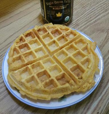 easy sweet potato waffle made with leftovers