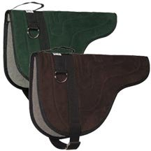 Bareback pads come in many price ranges;  the advantage of this bareback pad is that it has heavy rings for the breast collar.  Disadvantage is the buckle arrangement for the cinch.